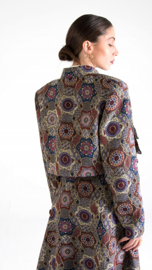 Multicolor Canvas Cropped Jacket with Pockets 2