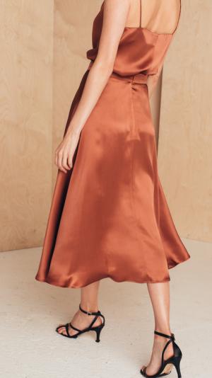 Flattering Silk Midi Skirt 2
