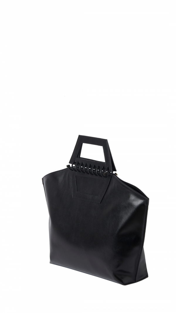 Large Leather Tote - Tempo - Black 2