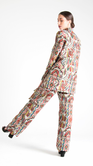 Multicolor Canvas Long Trousers with Pockets White 2