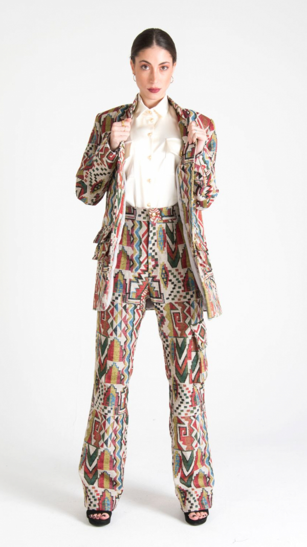 Multicolor Canvas Long Trousers with Pockets White 1