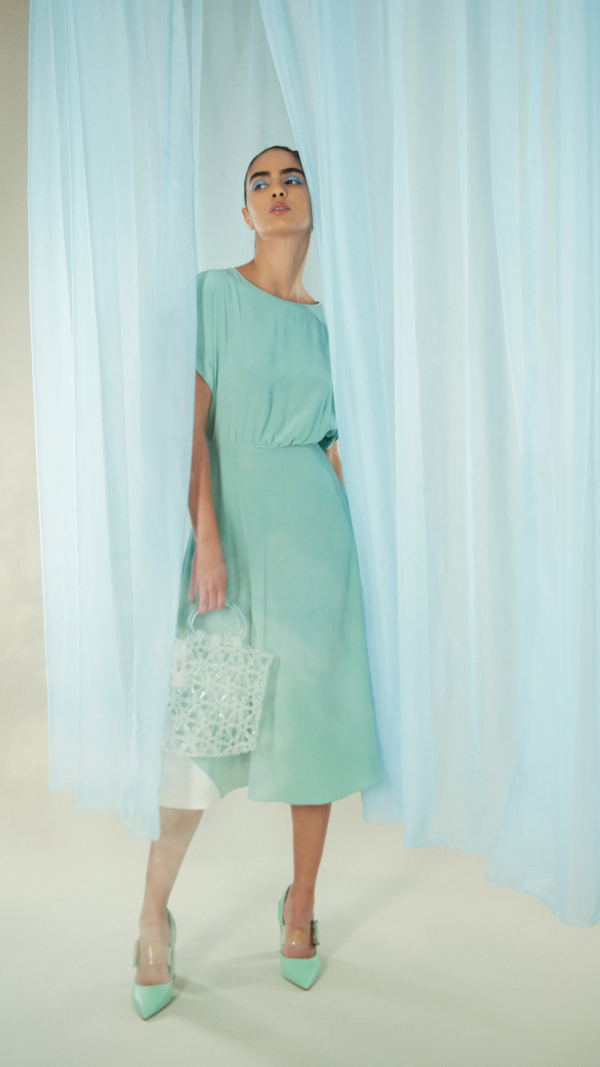Hand Dyed Silk Misty Marbled Dress - Blue 2