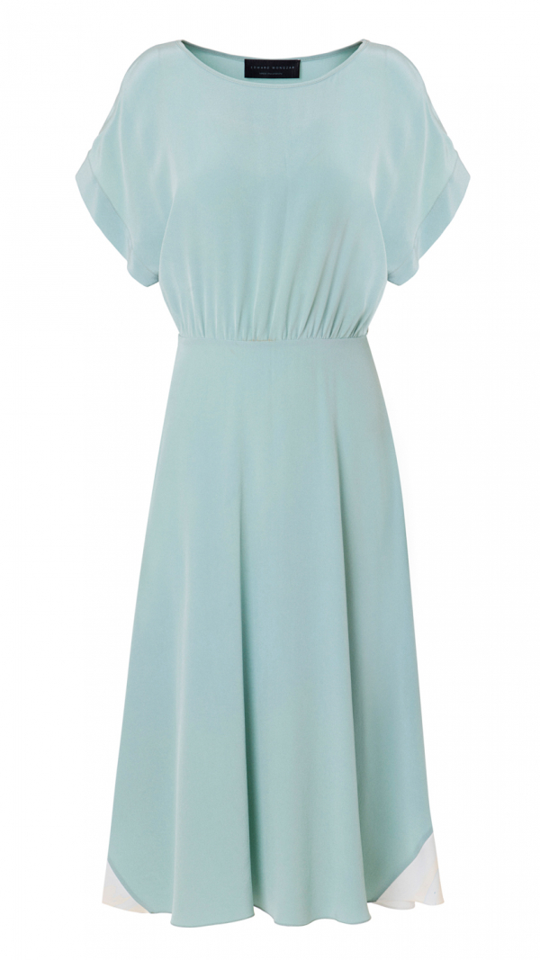 Hand Dyed Silk Misty Marbled Dress - Blue