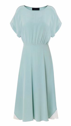 Hand Dyed Silk Misty Marbled Dress - Blue 1