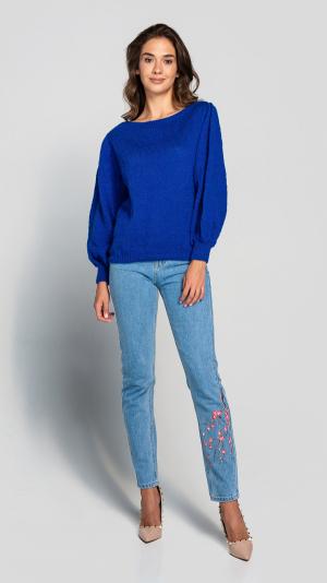 Women's warm Puff Sleeve Blue Wool Sweater 2