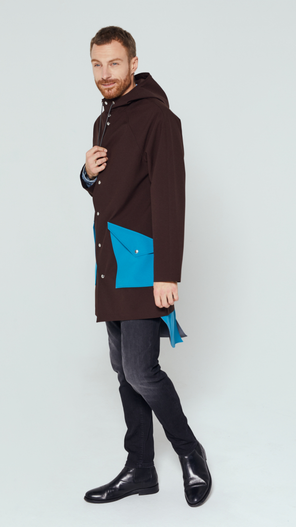 Unisex Brown City Raincoat with Light Blue Pockets and Tail 1