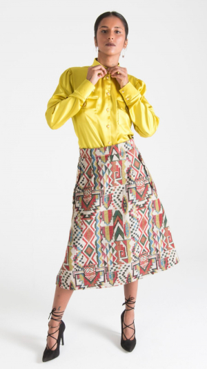 Multicolor Canvas Midi Skirt with Pockets White 1