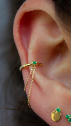 Elfin Emerald Chained Cuff - Left 2