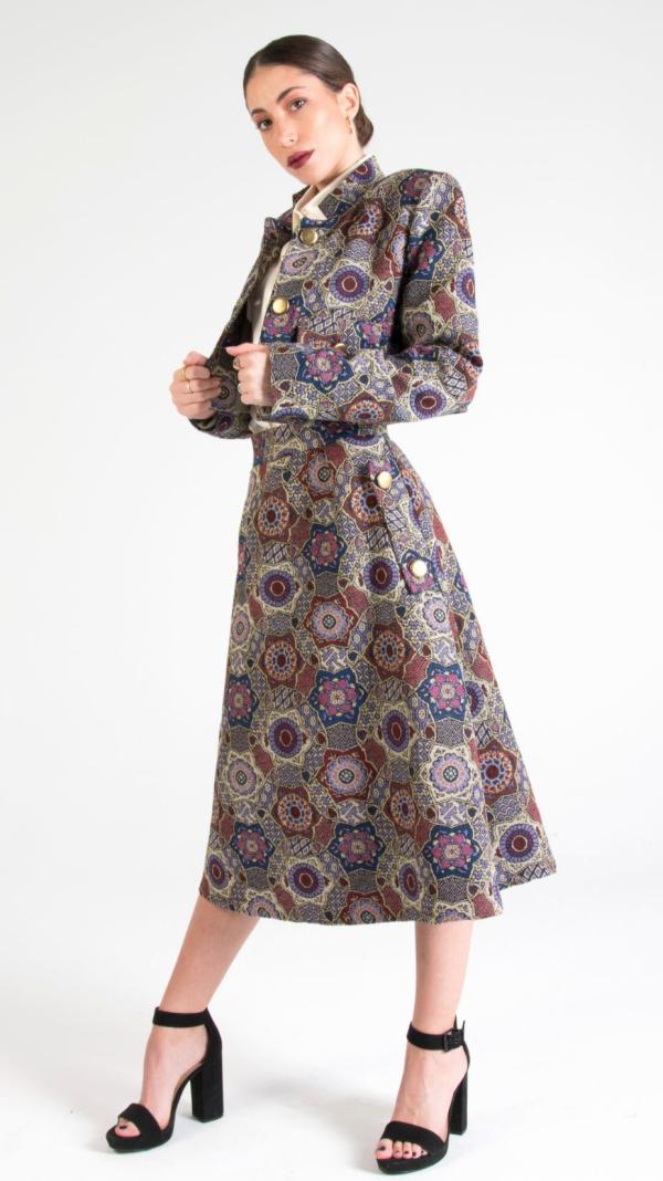 Multicolor Canvas Midi Skirt with Pockets Indigo 2