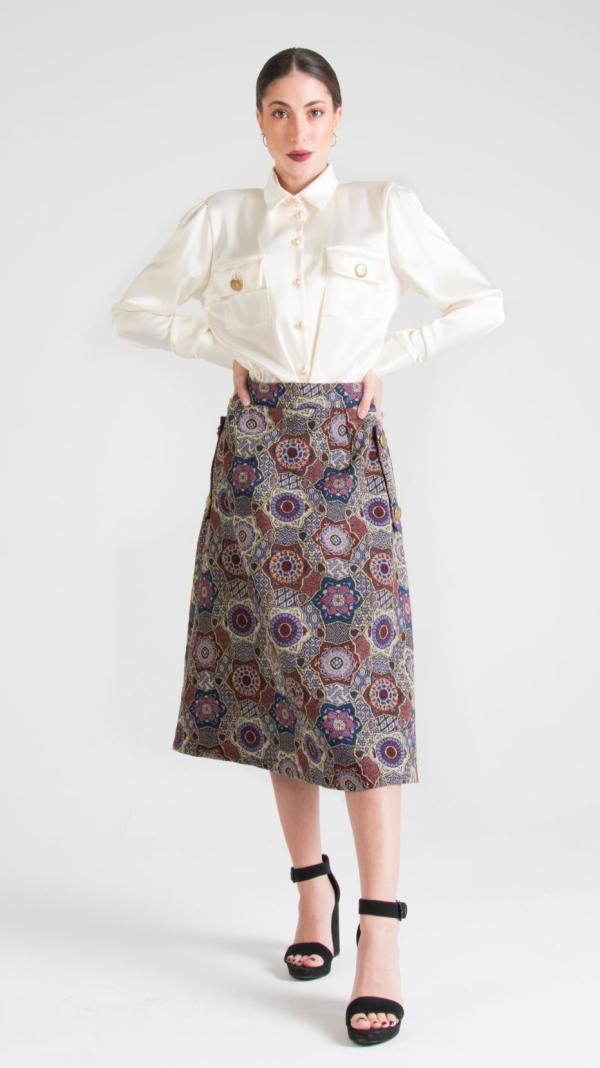 Multicolor Canvas Midi Skirt with Pockets Indigo