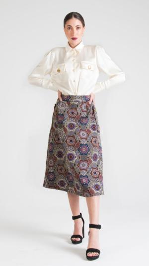 Multicolor Canvas Midi Skirt with Pockets Indigo 1