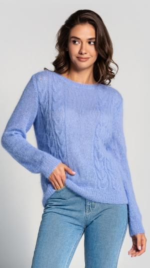Fluffy Blue Angora Women's Sweater 1
