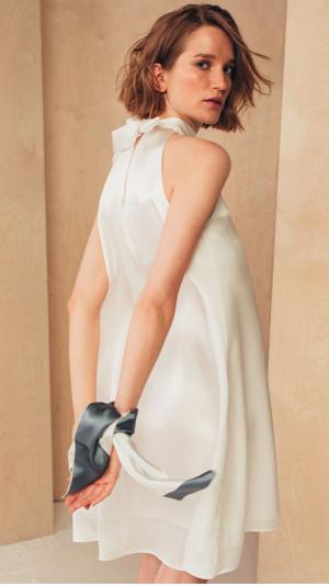 Short Silk Dress with High Neck 2
