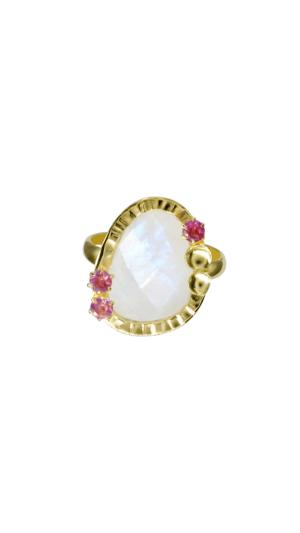 18Kt Gold Rainbow Moonstone, Pink Garnet 1