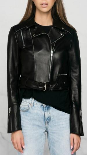Black Leather Biker Jacket 2