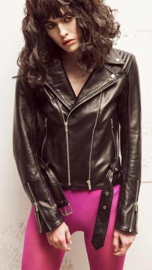 Black Leather Biker Jacket 1