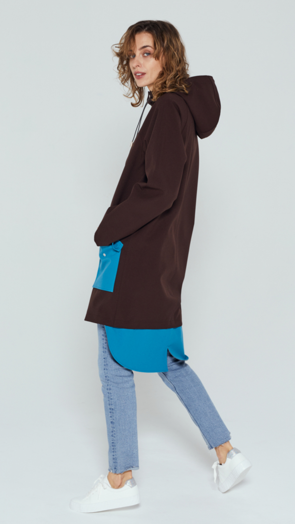Unisex Brown City Raincoat with Light Blue Pockets and Tail 2