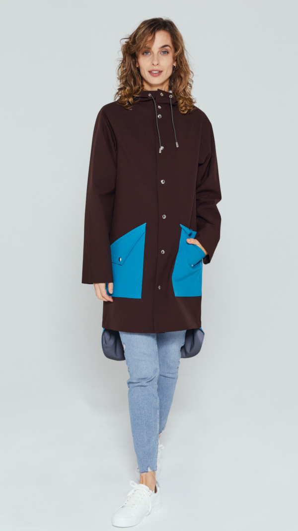 Unisex Brown City Raincoat with Light Blue Pockets and Tail