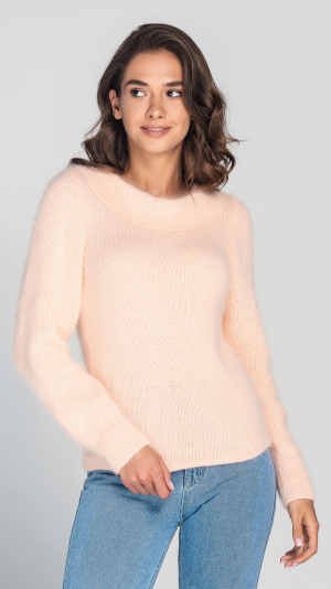 Fluffy Peach Angora Women's Sweater 1