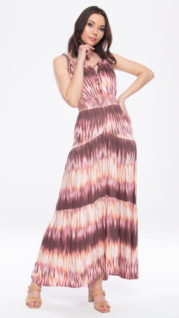 Pink Batik Maxi Dress
