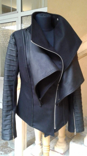 Women's black wool jacket with a high collar 2