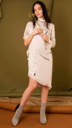 Asymmetrical Marbled Silk Satin Dress - White & Grey 2
