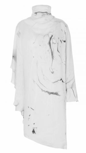 Asymmetrical Marbled Silk Satin Dress - White & Grey 1