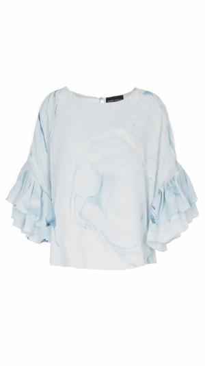 Hand Marbled Silk Ruffled Flounce Top - Blue & White 1