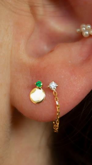 Elfin Emerald Dot Stud - Single 2