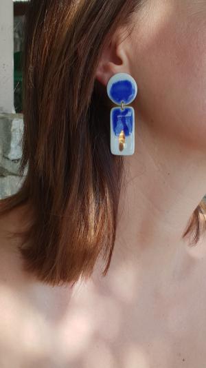 porcelain ocean blue & gold earrings 2