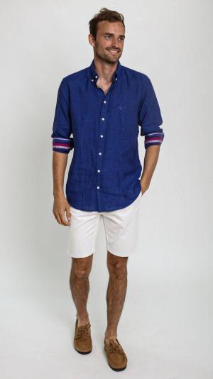 Navy Linen Shirt with African Fabric Trim 2