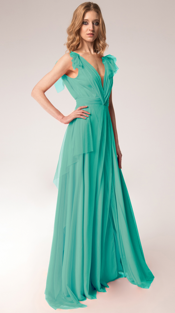 Elegant Tulle Maxi Dress Turqoise 2