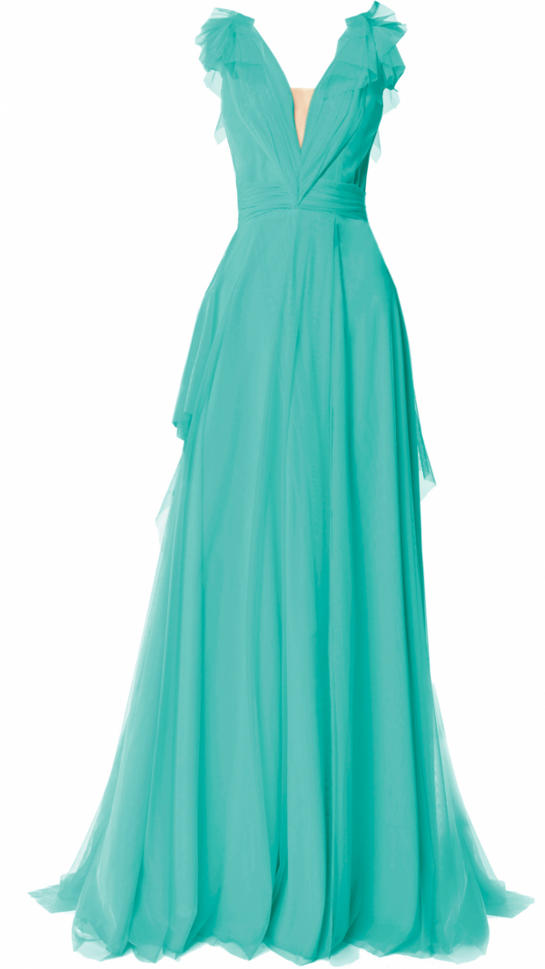 Elegant Tulle Maxi Dress Turqoise