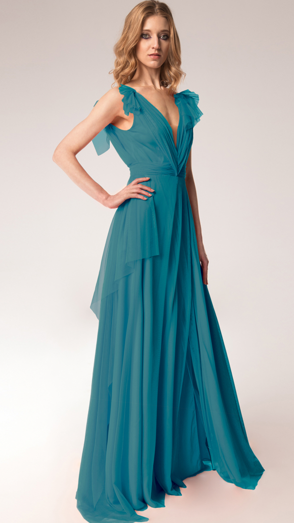 Elegant Tulle Maxi Dress Pertol Blue 2
