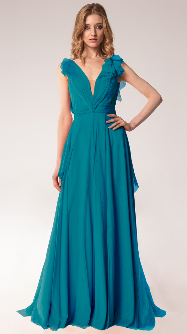 Elegant Tulle Maxi Dress Pertol Blue
