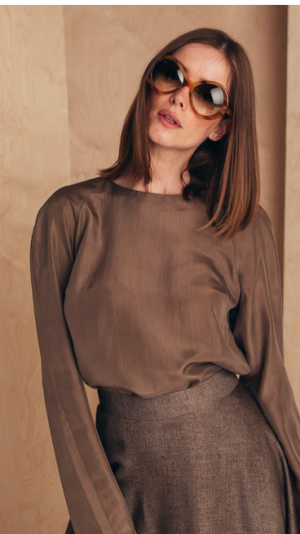Long-sleeved Silk Blouse 1