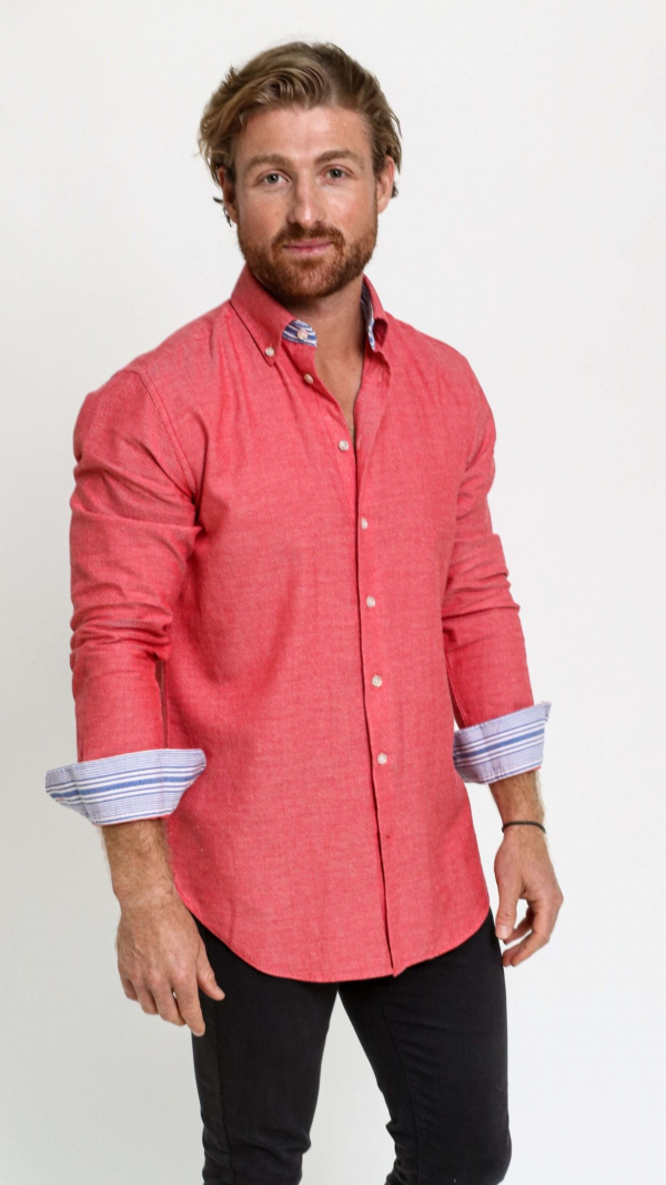 Coral Red Cotton Kikoy Shirt 2