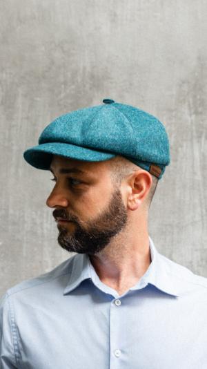 Borrdoo newsboy cap cashmere  turquoise 2