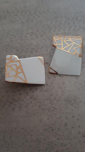porcelain square gold & white earrings 1