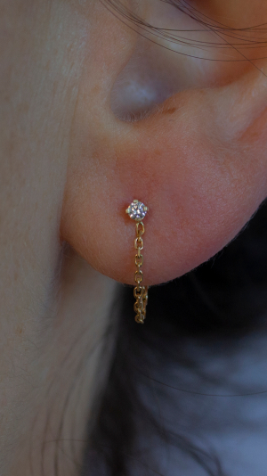 Icicle Diamond Chain Earring - Single 2
