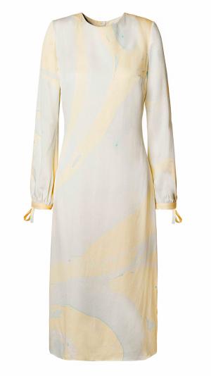 Hand Marbled Silk Shift Dress - Yellow & Blue 1