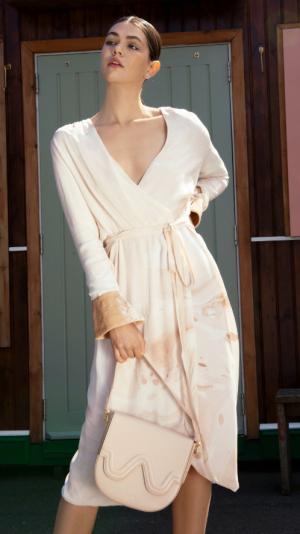 Hand Marbled Wrap Around Dress - Beige 2