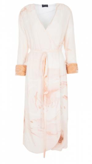 Hand Marbled Wrap Around Dress - Beige 1