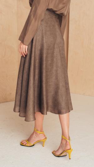Flattering Midi Skirt Silk/Wool 2