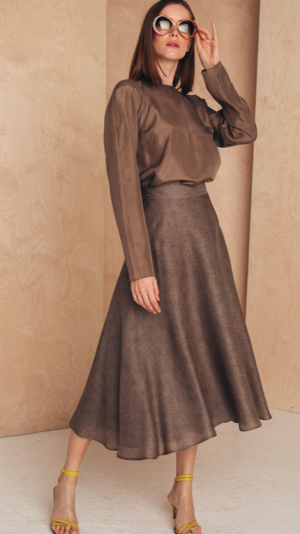 Flattering Midi Skirt Silk/Wool 1