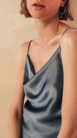 Silk Camisole Top with Draped Detail 1
