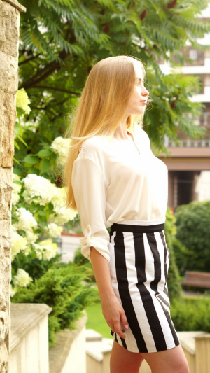 Striped Cotton Casual Party Mini Skirt 1