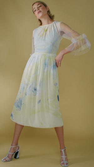 Silk Hand Marbled Gather Dress - Yellow & Blue 2