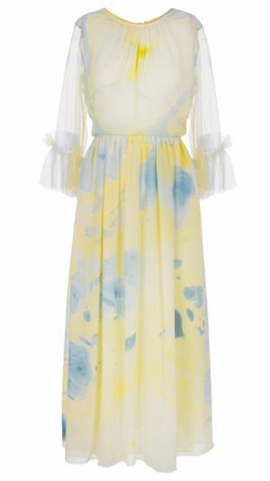 Silk Hand Marbled Gather Dress - Yellow & Blue 1