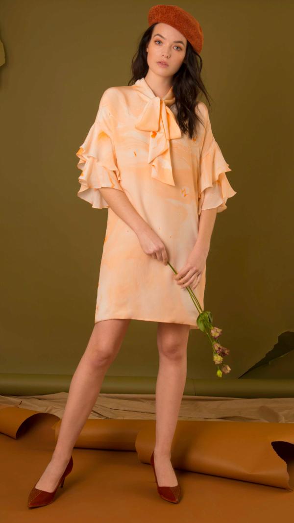 Bow Neck Marbled Silk Dress - Orange 2